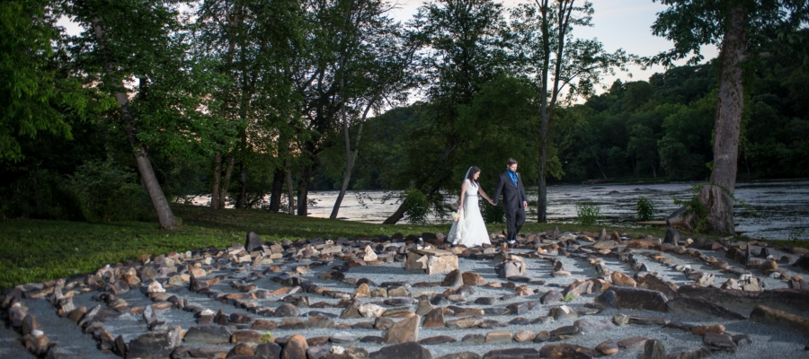 Stone labyrinth at Olivette, wedding venue in Ashville, NC.