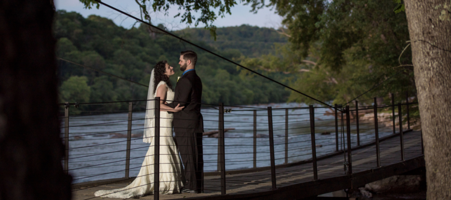Bridge to Azalea Island at Olivette, wedding venue in Asheville, NC.